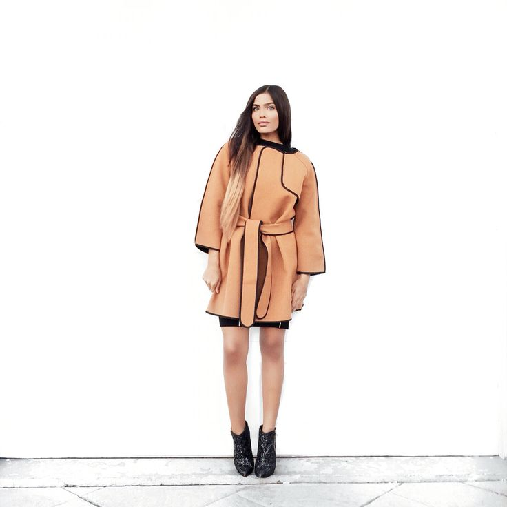Tan coat black contrast piping @chicwish