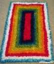 Latch Hook Rug made from recycled jersey knit fabric (aka t-shirts)