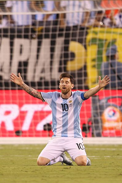 #COPA2016 #COPA100 Lionel Messi of Argentina reacts during the championship match between Argentina and Chile at MetLife Stadium as part of Copa America Centenario US...