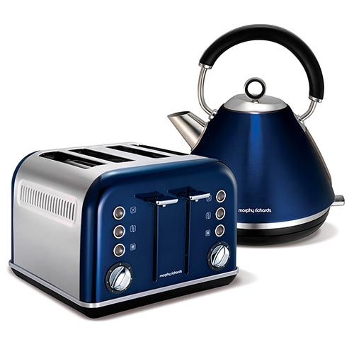 Metallic Blue Accents Traditional Pyramid Kettle and 4 Slice Toaster Set