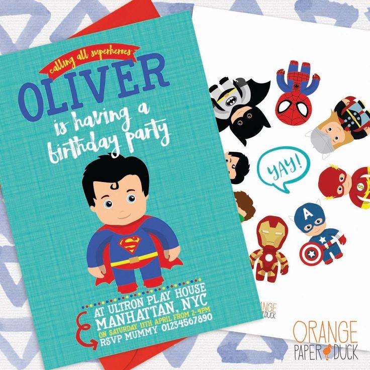 5 X Personalised SUPERHERO Birthday Party Invitation Invite Batman Superman Spider-Man Ironman Thor The Flash Green Lantern Captain America by OrangePaperDuck on Etsy https://www.etsy.com/au/listing/463125450/5-x-personalised-superhero-birthday