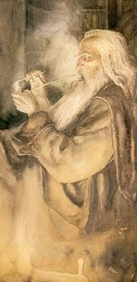 Gandalf by Alan Lee /// Gandalf was made up by the son of a preacher to discredit Norse Religion. It was a mission. The language in the RING actually IS Finnish, every true aspect of Norse knowledge was rewritten as a hodge- podge fairy tale --- and doesn't belong w/ real Cultural items or artwork. Gandalf of the British w/sticky fingers