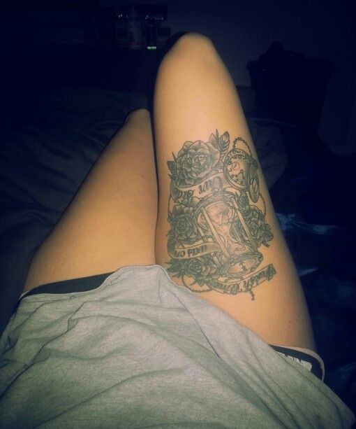 Thigh tattoo i wish time was on our side roses for Stop watch tattoos