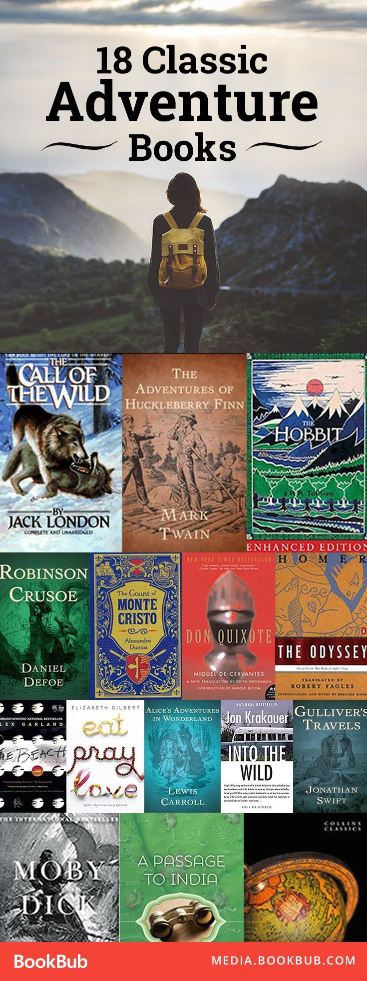 18 classic adventure books that will change your life. Ranging from classics like Huckleberry Finn to recent inspirational books like Eat Pray Love, these novels are worth a read.