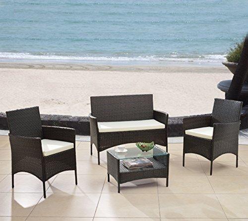 Modern Outdoor Garden Patio 4 Piece Seat - Gray Black Wicker Sofa Furniture Set (Espresso)