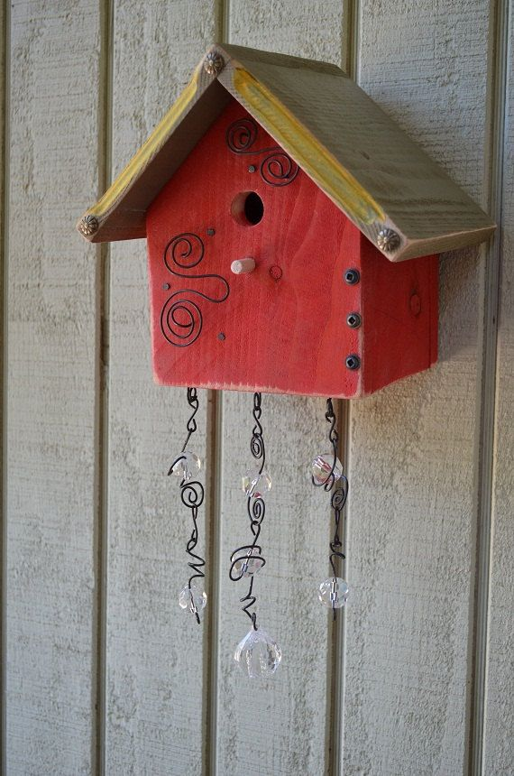 Birdhouse Wall Mount Art Nouveau Decorative Bird House Sun