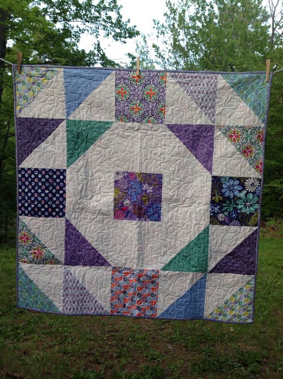 Terrain Baby Quilt -purple, blue, white, green, pink