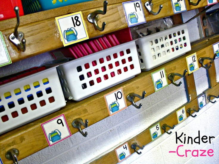 Classroom Hook Ideas ~ Use calendar numbers to assign student hooks this post