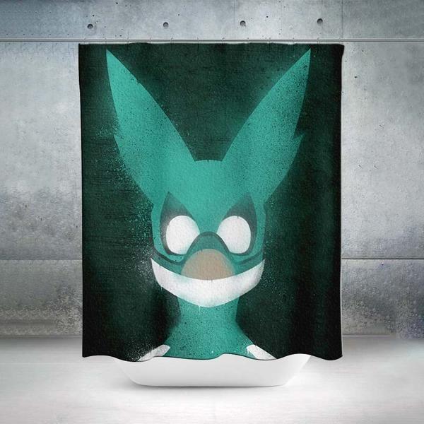 Izuku Midoriya Green Costume Shower Curtain My Hero Academia 3d