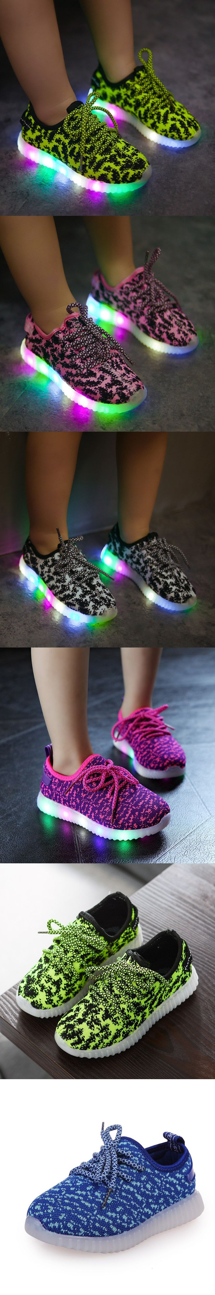 2016 Children USB Rechargeable Led Sneakers Lightweight Kids Led Shoes Fashion Weave Sneaker for Boys and Girls Casual Kid Shoes $25.6