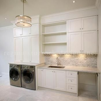 Laundry Room with Gray Mini Brick Backsplash, Transitional, Laundry Room