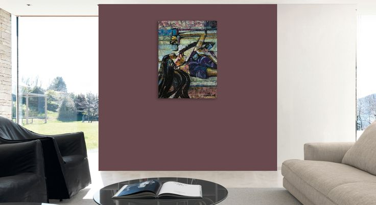 Modern interior of living room, contemporary painting of a woman - 'Supergirl 1' by @anialuk_art