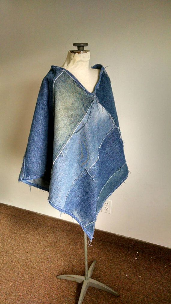 Cute recycled denim poncho made from repurposed jeans ecofriendly