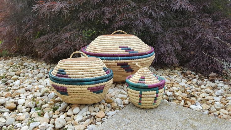 Set Of Three Large Coiled Woven Lidded Baskets ~ Bohemian/ Boho Storage / Sewing / Bin/ Box ~ Handwoven Tribal/ Southwestern Leather Basket by LUCKYHOMEFINDS on Etsy
