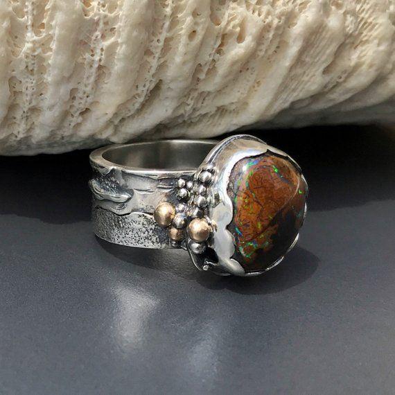 Bolder Opal Ring,925 Silver Ring,Gemstone Ring,Handmade Ring,Unisex Ring,Wedding Ring,Opal Ring,Boho Ring,Silver Jewelry,Bolder Opal Jewelry