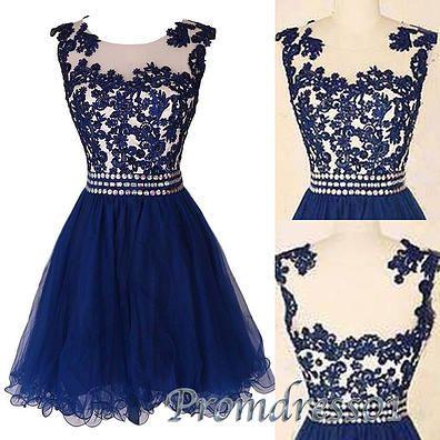 Cute lace short prom dress,homecoming dress, blue evening dress for teens