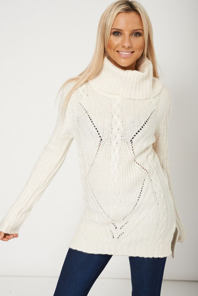 COWL NECK RIBBED CHUNKY KNIT CREAM JUMPER This ones in the sale!!