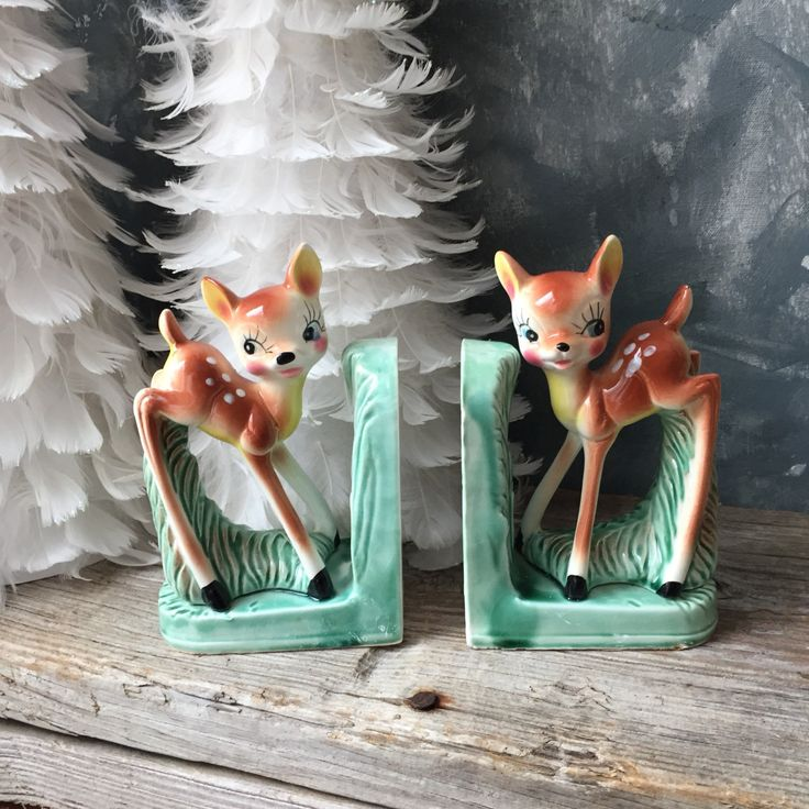 Deer Fawn Bookend Set: Vintage Ceramic Mid Century Deer Bookends, Retro Kitsch Decor, Bambi Bookend, Retro Cottage Home Nursery Office Decor by Untried on Etsy