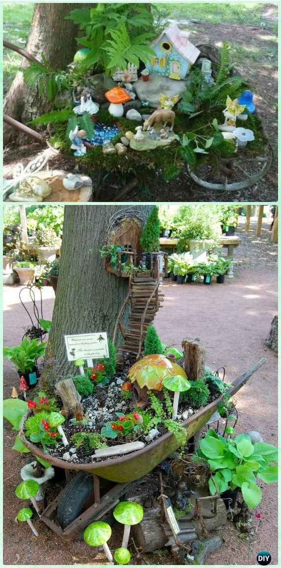 Mobile Wheelbarrow Garden Along Trees - DIY WheelBarrow Miniature Garden Projects