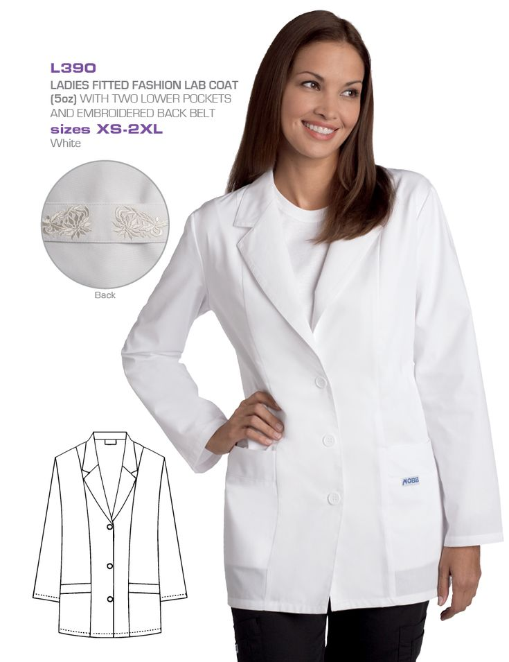 Ladies Lightweight Fitted Lab Coat : Fabulous tailoring and embroidery detail make this the perfect lab coat for ladies who still want to be fashionable at work. Made with 5oz lightweight coat with two lower pockets and embroidered belt detail in the back