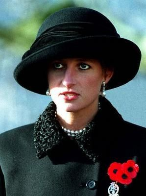 Diana, Princess of Wales at the Remembrance Day Service in Enniskillen, Northern Ireland on November 14, 1993 to remember the lives lost on Remembrance Day, November 8, 1987 when an IRA bomb killed eleven and injured sixty three.