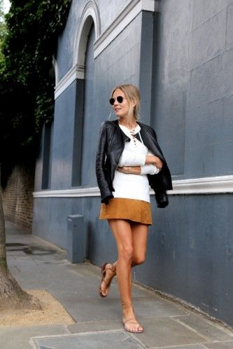 leather jacket with suede skirt