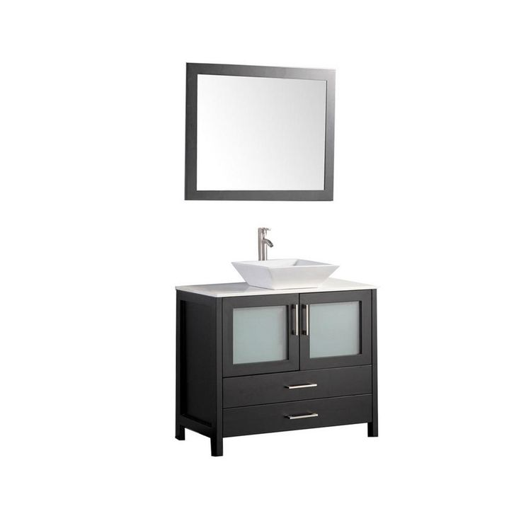 MTD Vanities 48 in. W x 18.5 in. D x 36 in. H Vanity in Espresso with Quartz Vanity Top in Off-White with White Basin and Mirror