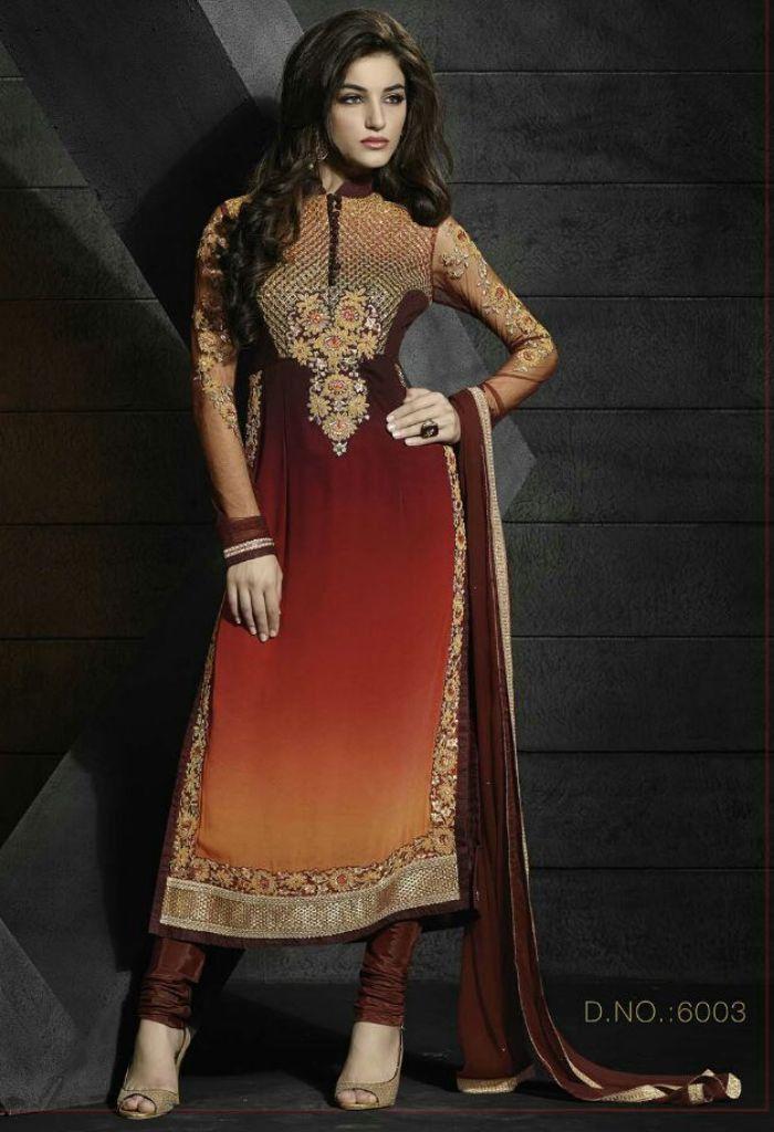 Exclusive Brown Georgette Salwar Kameez With Embroidery Work 35606