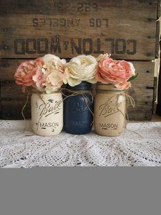 Mason Jars, Painted Mason Jars, Rustic Wedding Centerpieces,