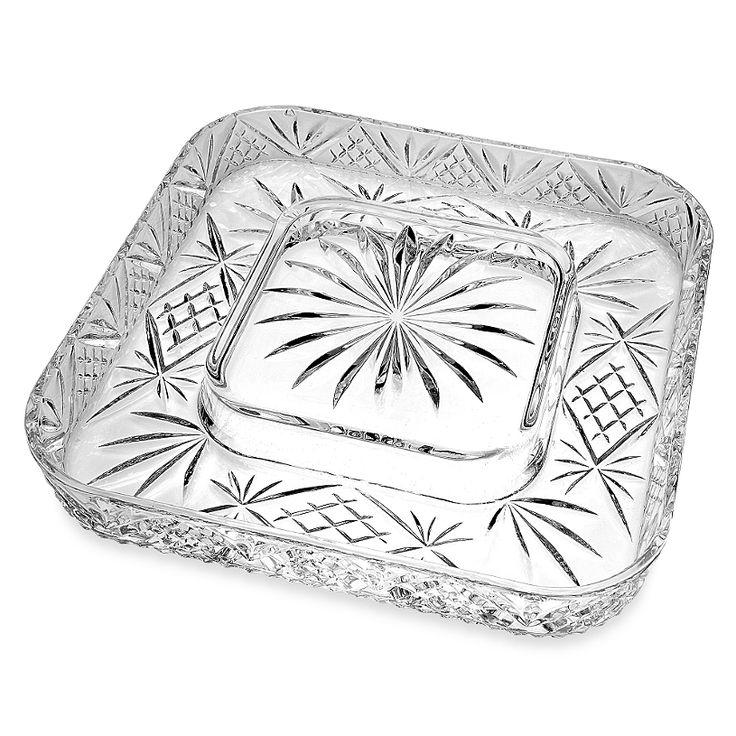 godinger dublin crystal silver cheese u0026 cracker server