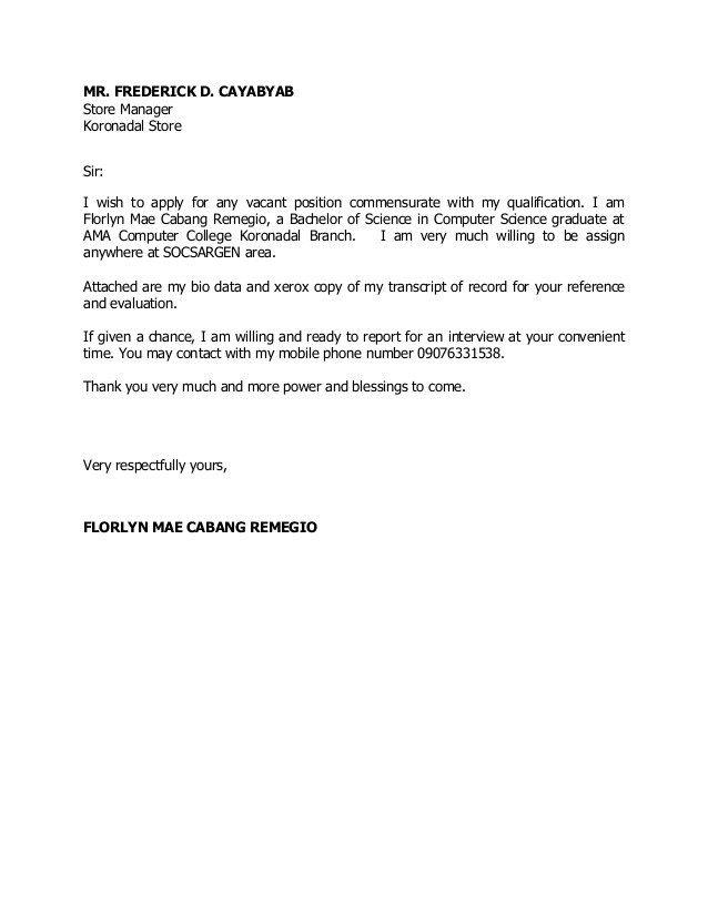 Sample Cover Letter For Job Application Fresh Graduate For