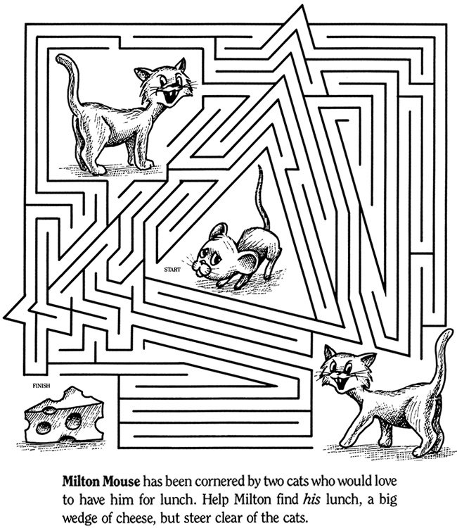 color it cat and mouse maze