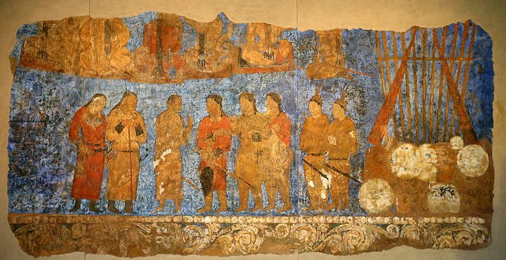 In 1965, a new mural was discovered in the Afrasiab Hills (Samarkland, Uzbekistan) where an old palace was located. This wall painting was presumed by historians to have been produced during the reign of King Barhuman in the year 655 during the Sogdian Kingdom. Recently, this wall painting has been restored in cooperation with the Northeast Asian History Foundation and the Afrasiab Museum in Samarkand (video). Read more: http://www.arirang.co.kr/News/News_View.asp?nseq=173571