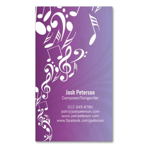 Musician Business Card Music Notes Upflow. Make your own business card with this great design. All you need is to add your info to this template. Click the image to try it out!