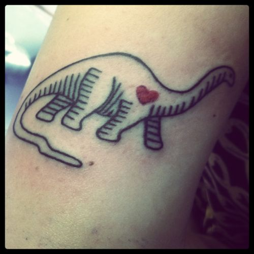 This is max, he is my dinosaur tattoo. We are both vegan :)  Done at Horns N' Halos in Sherman Oaks, CA