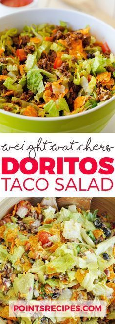 Doritos Taco Salad - 4 smartpoints | Weight Watchers Recipes. So good, you'll forget it's healthy! Minus Doritos almost paleo