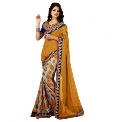 Orange and Grey Georgette #PartyWear #Saree With #Blouse #Fashion Buy Now