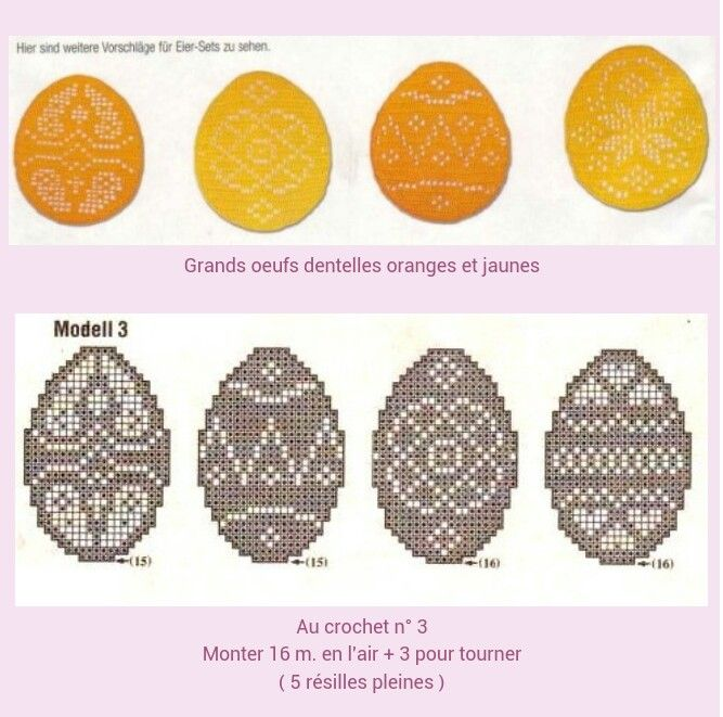 Graphs, filet crochet Easter eggs
