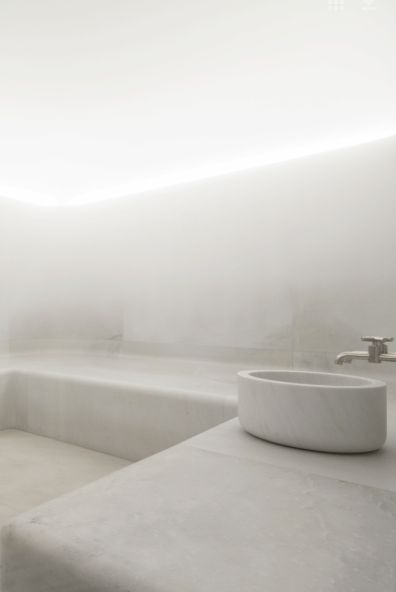 David Chipperfield Architects | Akasha Holistic Wellbeing Centre | white marble hamam