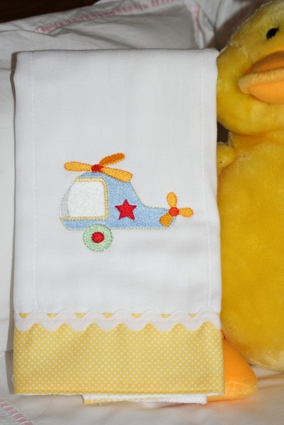 Helicopter Embroidered Burp Cloth for a Boy by kokadots on Etsy, $14.00