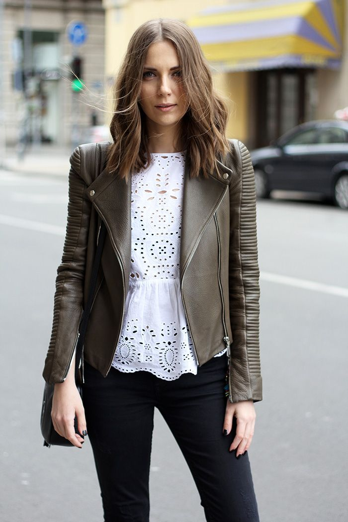 I really like leather details to make my feminine wardrobe not-so-twee!