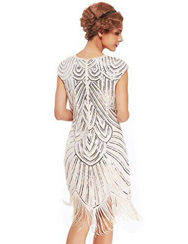 Uniq Sense Womens 1920s Fler Dresses Sequined Beaded Fringed Emblished Great Gatsby