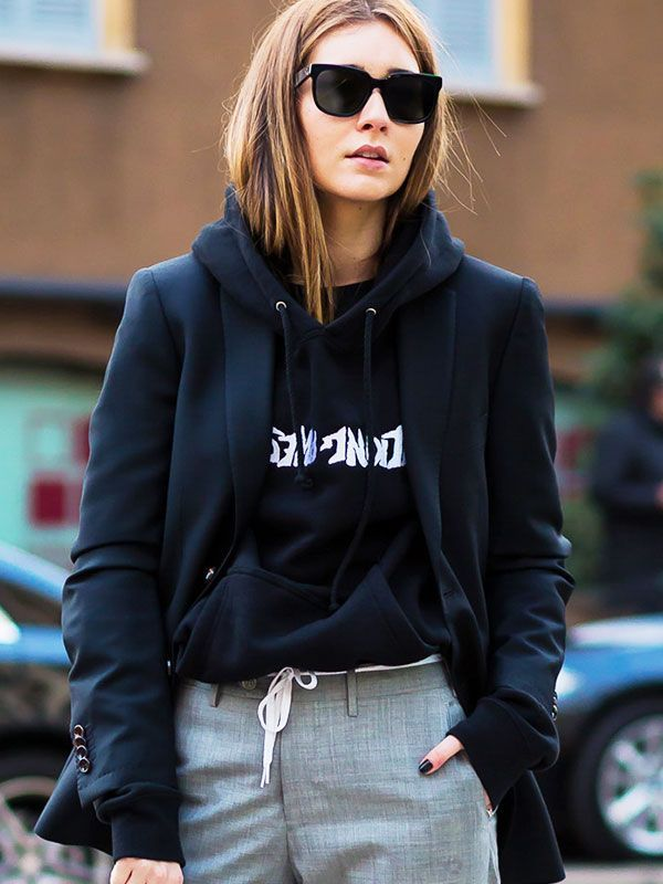 The Coolest Hoodies to Layer Up In, hoodie with blazer, sport chic, street style