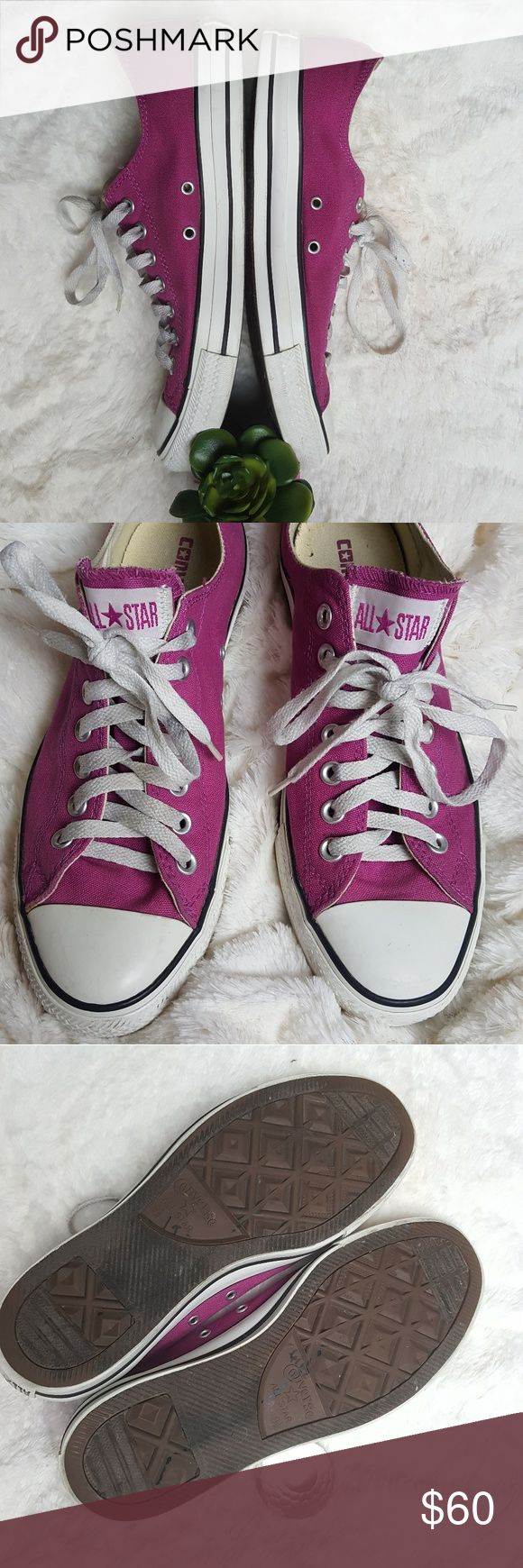 Fuschia Pink Unisex Converse Mens 9.5/ Womens 11.5 Great Converse shoes. UNISEX: Men's 9.5/Women's 11.5 Fuschia/Dark Pink. VERY COOL looking Converse shoes. Everyone else is wearing black...is your goal to fit in or stand out? You will LOVE these shoes! Converse Shoes Sneakers