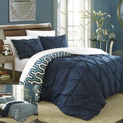 Chic Home Talia 3 Piece Duvet Cover Set Size: Queen, Color: Navy
