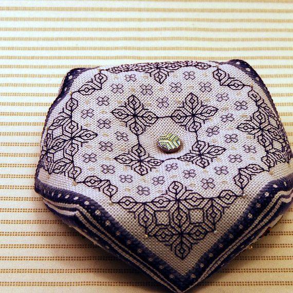 Oberon - Blackwork biscornu pattern. $3.00, via Etsy.