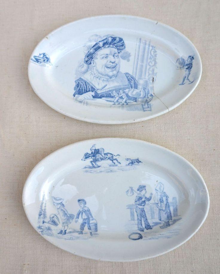 French Dollhouse Dinnerware Transferware Faience 2 Oval Dish Gargantua 1900