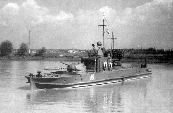 Soviet armoredboat of 1124 project with the T-34 turret, the AAMG turret and the rocket launcher