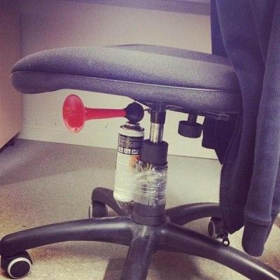 Yikes! {airhorn under chair prank}  BAH HA!! I MUST do this to my boss!! EPIC