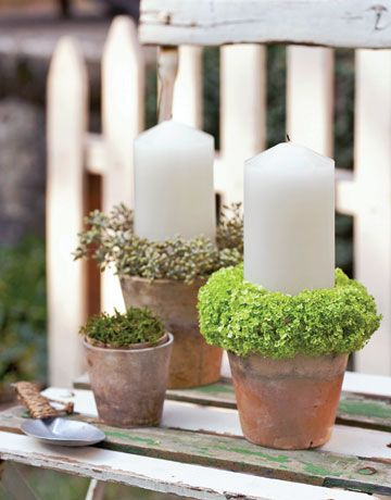 Candles  Fill an old garden pot with wet floral foam, and add a candle. Stick eucalyptus berries and viburnum in the foam around the edge of the pot. Don't use dried flowers as they could be a fire hazard.    Read more: Ideas for Flowers - Country Living